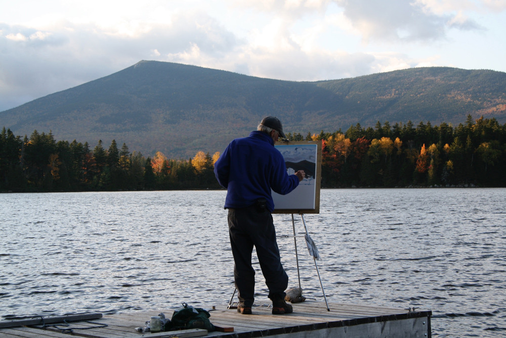 Chris Polson painting at Katahdin Lake 2009