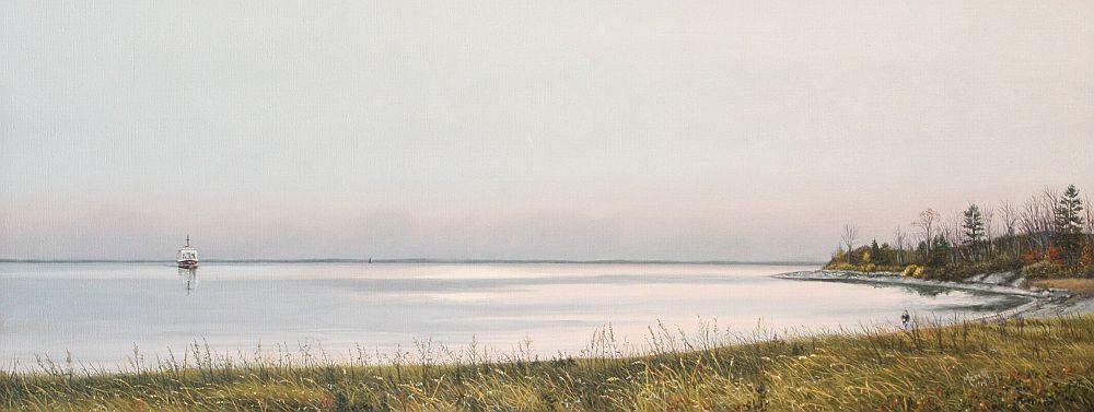"""Merrill French, """"Islesboro Ferry,"""" 2014, oil, 12x30"""""""