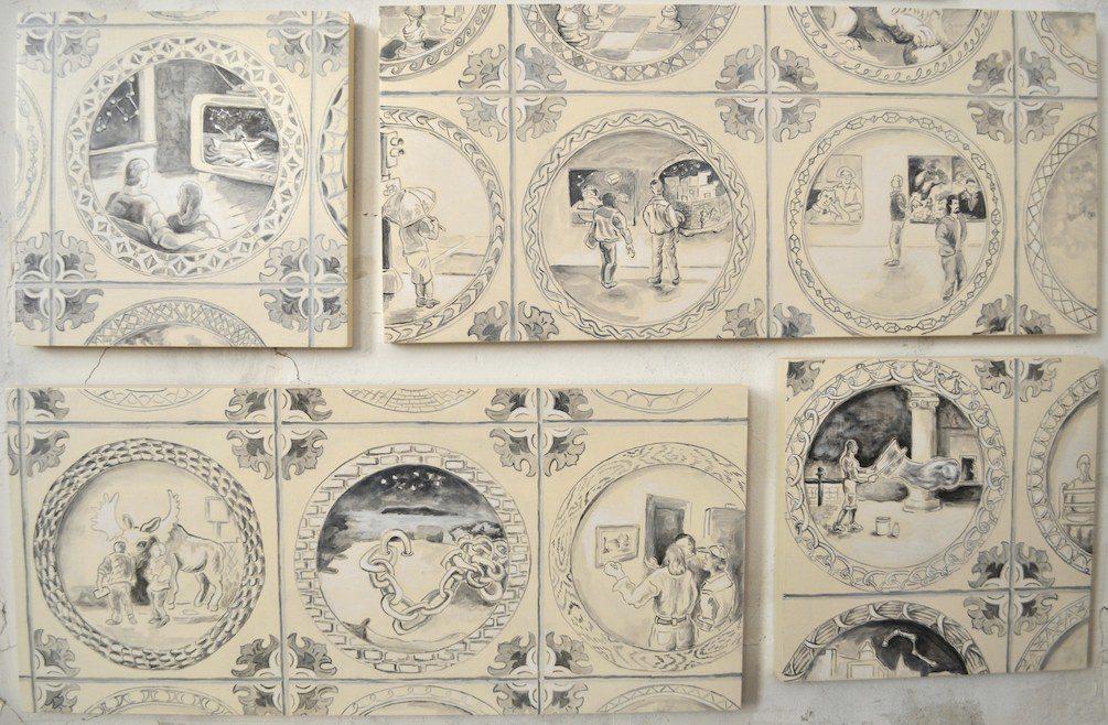 "Kathy Weinberg, Quadrophenia, 2016, acrylic on panel, 20 x 32"""