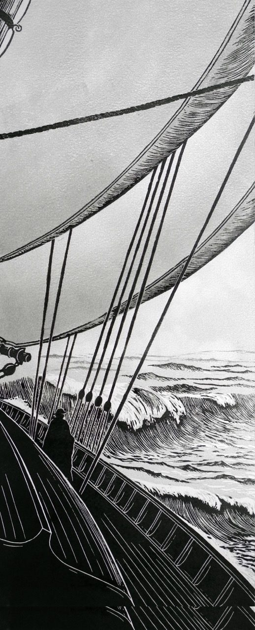 David Morgan, Into the WInd, woodcut print, 18 x 7.5""