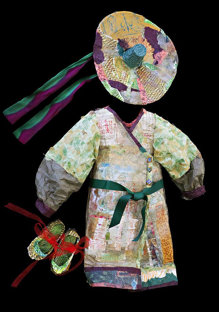 """Rice Patty Kimono,"" Spring 2016, Paper Wallhanging, 31 x 31"""