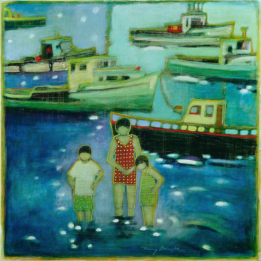 "Mary Bourke, ""Shallows,"" acrylic on birch panel"