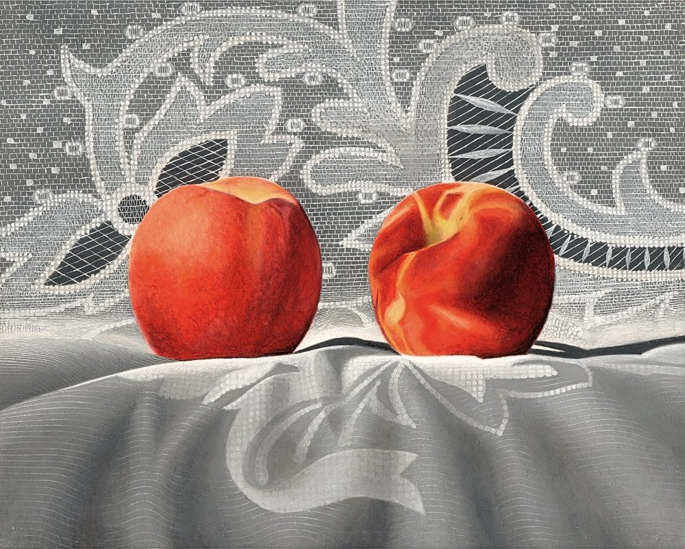 "Kenneth Schweizer, ""Peaches and Lace,"" oil on panel, 8 x 10"""