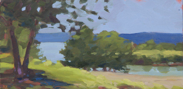 "Anne Ireland, ""View from the Porch,"" 2015, oil on canvas, 6 x 12"""