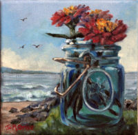 "Mason Jar on Shore, 2014, oil, 7 x 7"""