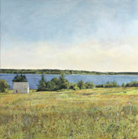 "Carol Rowan, Long Island, Maine, oil on panel, 25"" x 25"""