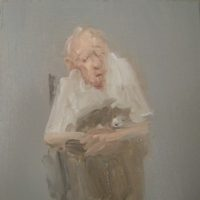 Donna Festa, Man Holding a Dog, 2014, oil on panel, 6 x 6   inches