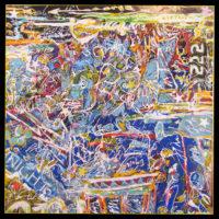 "Petrea Noyes, Maelstrom with Harpies, 2017, mixed media on canvas, 40x40"""