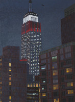 "Yvonne Jacquette, ""Empire State Building II,"" 2009. Oil on canvas, 64 1/8 x 47 7/16 inches. Courtesy of DC Moore Gallery, New York."