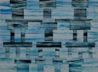 "Bob Richardson, ZIGGURAT (Blue), 2017, acrylic and watercolor on Yupo paper, 18 x 24"""