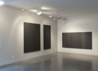 "Kate Beck, Poema, 2011, poured graphite, oil on aluminum composite panels, 68 x 89"" and 48 x 89"""