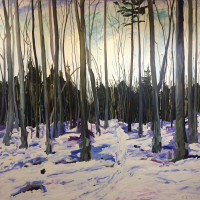 "Chris Polson, Joe's New Sugarbush, 84"" x 84"", oil on linen, 2009"