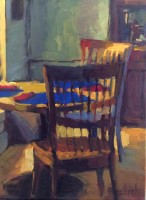 "Pamela Hetherly, ""Kitchen Dining,"" 2016, oil, 12 x 9"""