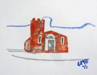 Greg Burns, Igreja Nossa Senhora do Rosário de Fátima, 2015, Watercolor on Canvas Board, 28 x 38 cm