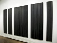 Kate Beck, Anxieties + Alienations, 2010, poured graphite, oil on aluminum composite panels, 89 x 189""