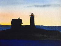 "Linda Posson, Dark Light, watercolor, 8 x 10"""
