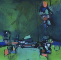 "Erika Manning, ""Sail Away,"" 2017, acrylic on paper, 22 x 22"""