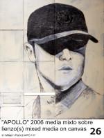 """William Rand, """"APOLLO,"""" 2006, mixed media on canvas, 54' x 3'8"""", © William Rand/ARS NY"""