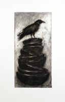 "Lissa Hunter, ""Bowls and Crow I,"" 2016, charcoal drawing, 25 x 33"""