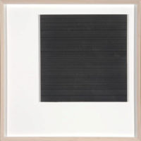 Kate Beck, Abandon, 2011, graphite on paper, aluminum composite panel, white field, 20 x 20""