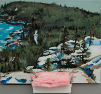 Maggie Libby, Erasable 3, Snowy Ledge View from Gorham, pink insulation, twigs, erasers