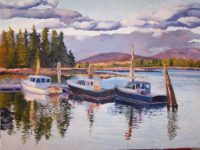 Boat Reflections, November 2014, Oil Painting, 18 x 24