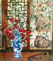 """Jean Kigell, """"Dragon Vase,"""" 2013, Asian brush on shun, 20x16"""""""