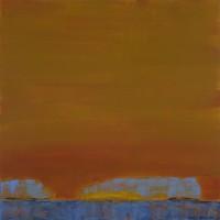 """Orange Sky, Blue Islands,"" acrylic on panel, 14 x 14"""