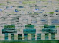 "Bob Richardson, ZIGGURAT, 2017, acrylic and watercolor on Yupo paper, 18 x 24"""