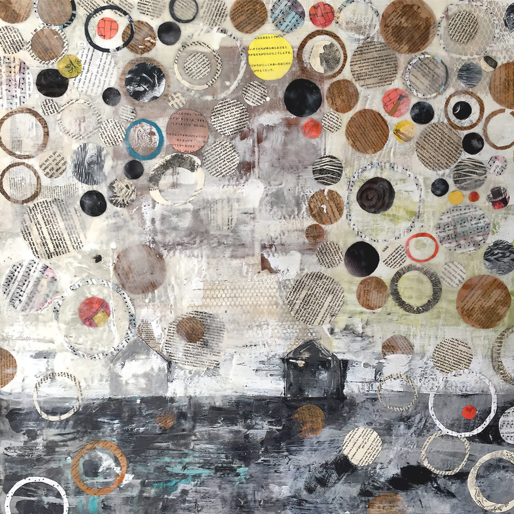 """Willa Vennema, """"Layers of Time Series #6, 36"""" x 36"""", Encaustic and Collage on Panel"""