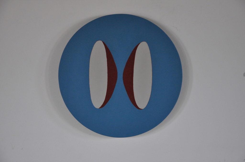 """Circus  (eye music)""     22""  diameter  acrylic on linen   2016"