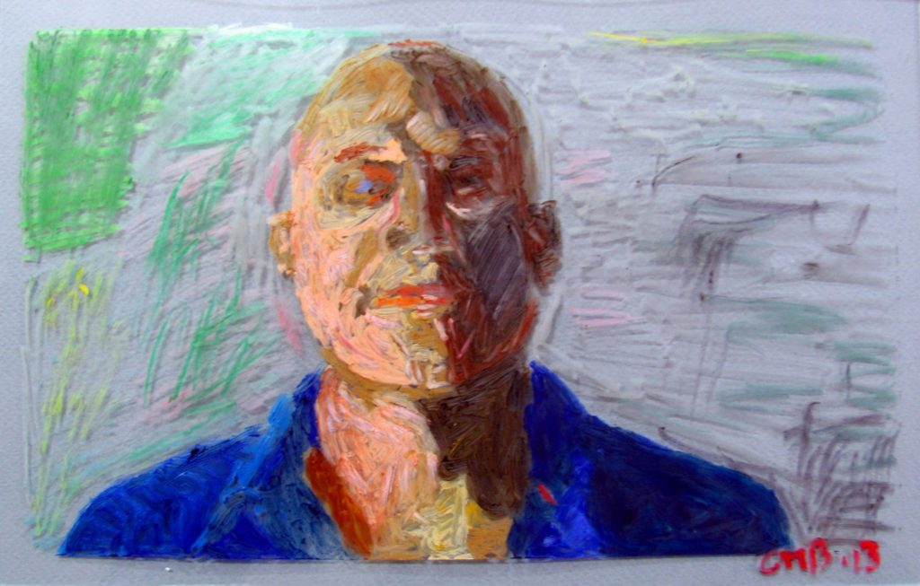 Greg Burns, Self Portrait, 2013, Oil Pastel on Glass, 17.5 x 27.5 cm