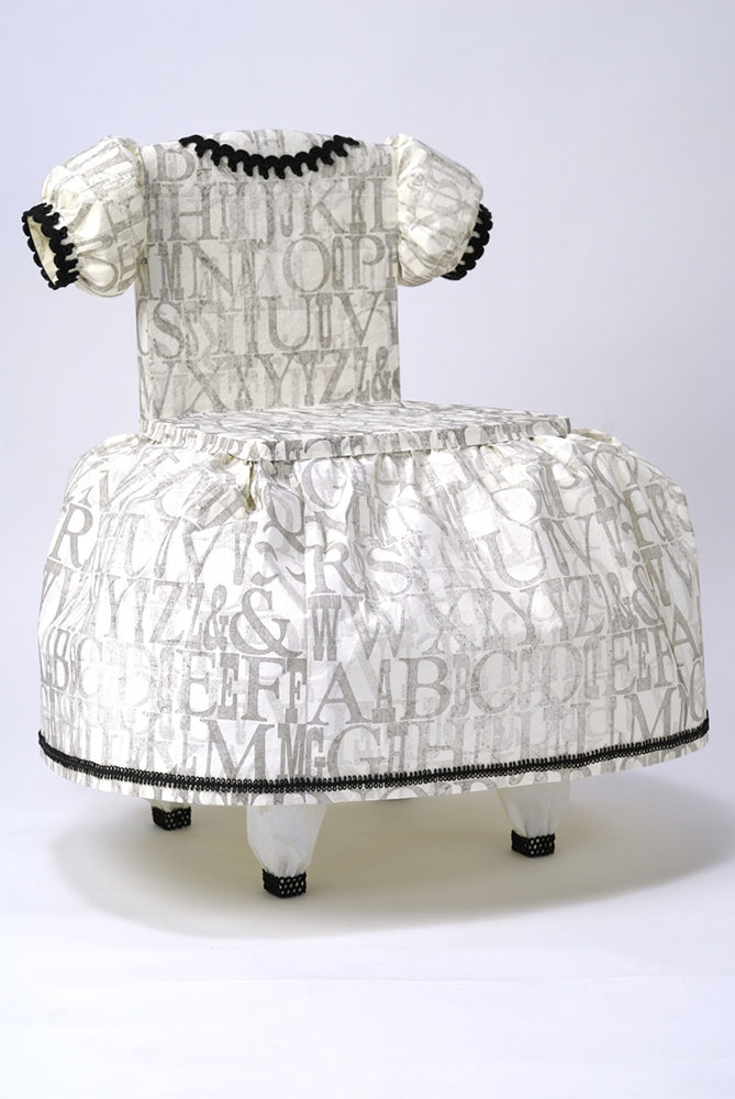 Crystal Cawley, Maid of Honor, 2008, letterpress on handmade paper, old wooden chair, upholstery and dressmaker's trim, 33 x 19 x 19 inches