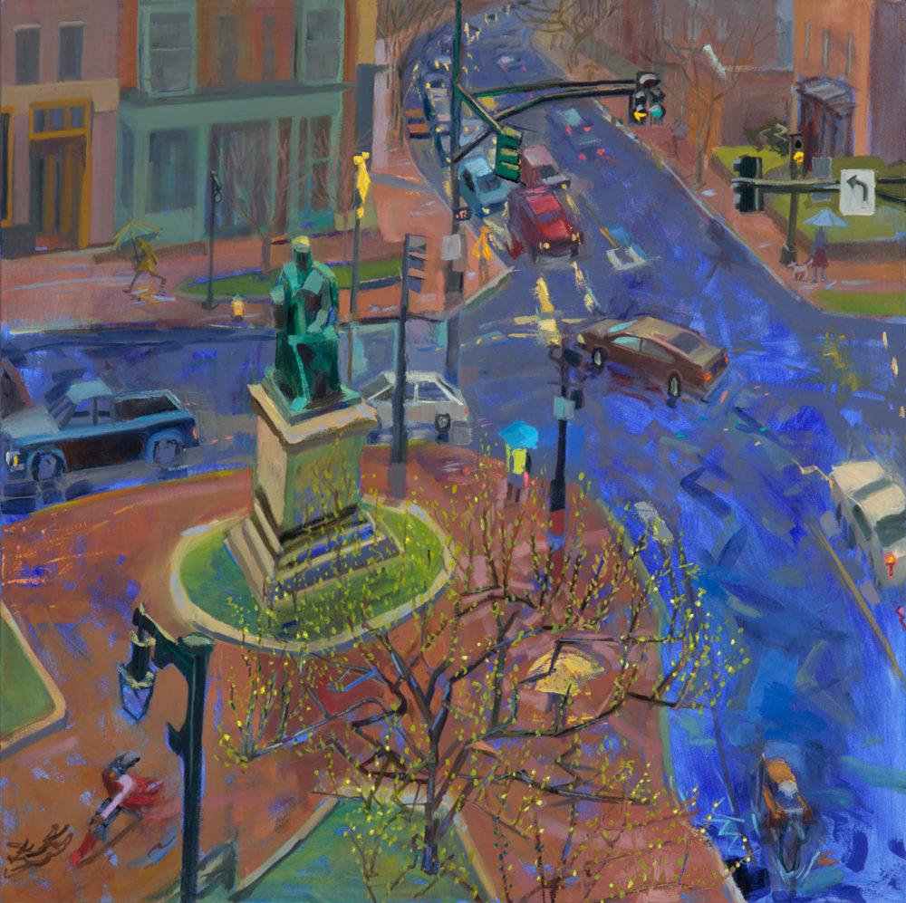 "Louise Bourne, Spring Rain, oil on canvas, 40 x 40"""