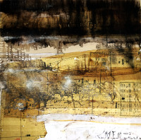 "Shifting Threshold Series: Winter: Shift 4, 2015, mixed  media on wood, 48 x 48"""