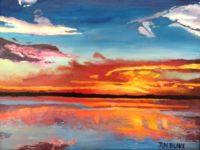 Hadlock Sunset, August 2012, Oil Painting 16 x 20
