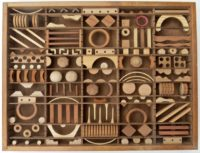 Bernice Massé Rosenthal. Cuneiform Diary; Natural wood assemblage; 18 x 24 x 3 inches.