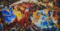 "John Carnes, ""American Baroque III,"" watercolor, 2018, 20"" x 38"""