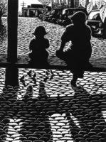"""David Morgan, Morning at the Bakery, woodcut print, 10 x 7.5"""""""