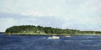 """Carol Rowan, Deer Isle, Maine, oil on panel, 14"""" x 24"""""""