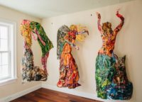 """Meghan Nathanson, """"Wild Women Collective,"""" 2015, Sculptural Collage created exclusively with repurposed wall calendars"""