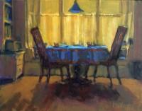 "Pamela Hetherly, ""Blue Cloth,"" 2016, oil 11 x 14"""