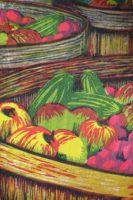 "David Morgan, Basket Case, woodcut print, 6 x 4"""