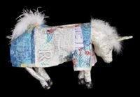 """""""Unicorn,"""" 2015, Papier Maché, 18 x 10 x 31"""""""