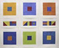 "Nancy Simonds, Oceanward Block Stack, 56"" H x 68"" W, Gouache on Paper"
