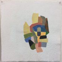 "Paul Heffernan, ""Assemblage #3,"" 2017,  Painted Paper on Handmade Paper, 12 x 12"""