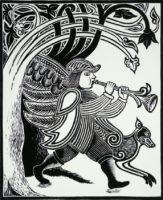 "David Morgan, Wood Angel, woodcut print, 11.75 x 9.5"""