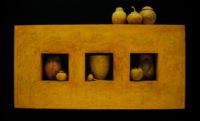 "Lissa Hunter, ""Botanica,"" 2001, coiled basketry, 31 x 19 x 4"""