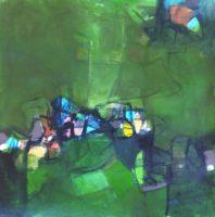 """Erika Manning, """"Symphysis,"""" 2017, acrylic on paper, 22 x 22"""""""