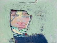 """David Estey, Man on Green, 2012, acrylic, 18"""" X 24"""""""